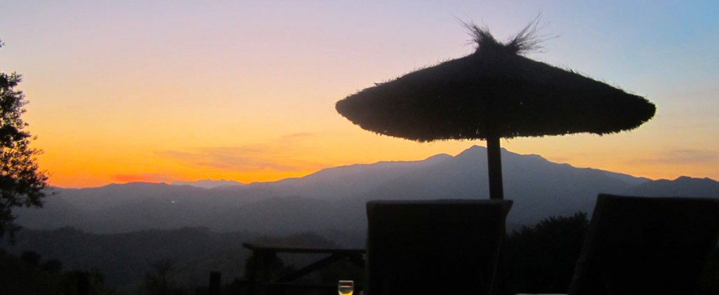 Al fresco dining as the sun sinks slowly behind the mountains